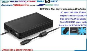 90W Slim Universal Laptop Charger