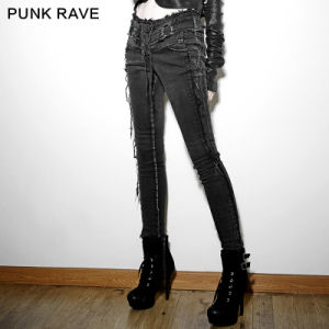 Pk-052 Punk New Design Vintage Supper Elastic Female Jean Pants pictures & photos