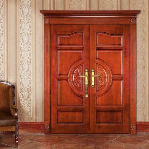 Oppein Double Leaf Luxurious Solid Wood Entrance Door (MSSS01) pictures & photos