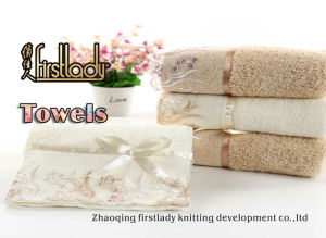 2016 100% Cotton Towel with Elegant Lace