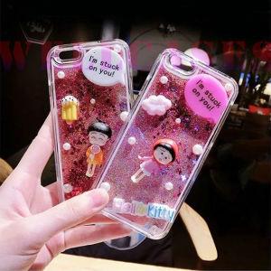 Hot Quicksand Powder Sakura Momoko TPU Phone Case for iPhone5/6/6plus