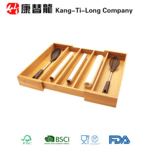 Bamboo Cutlery Tray Basket Kitchen Drawer Organiser