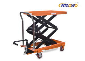 1000kgs Hydraulic Double Scissor Lift Table Truck with Ce pictures & photos
