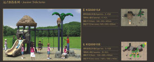 Kaiqi Small Prehistoric Series Children′s Playground with Swings and Slide (KQ50015A) pictures & photos