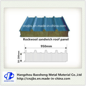 Corrugated Steel Rockwool Sandwich Insulated Panel Both Sides with PU Core pictures & photos