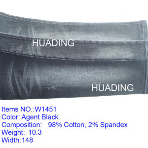 Wholeslae Agent Black Jeans Garment Fabric (W1451) pictures & photos