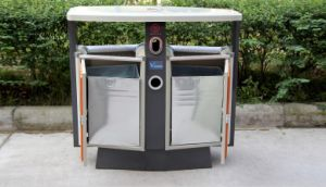 Hot Selling Outdoor Garbage Can with Plastic Wood (HW-D02A) pictures & photos