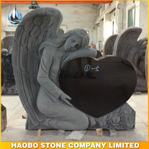 China Black Granite Single Angel Heart Headstone (HB-LA-headstone03) pictures & photos