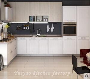 White PVC Modern L Design Kitchen Cabinet (P014)
