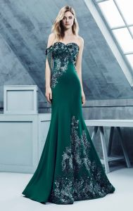 off Shoulder Green Evening Party Gowns Satin Beaded Bridesmaid Dresses Z3047 pictures & photos