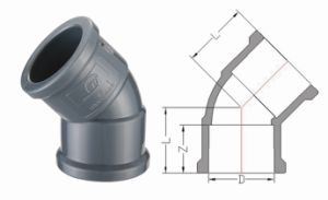 PVC-U Pipe Fittings for Water Supply 45 Deg Elbow (A62) pictures & photos