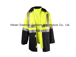 Flurescent Yellow Workwear Waterproof Parka pictures & photos