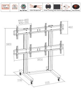 "Video Wall Stand 4 Screens 40-55"" (2*2) (AW 400) pictures & photos"