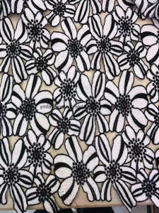 White and Balck Double Color 100% Polyester Lace Fabric Garment Accessorie for Dress 0009 pictures & photos