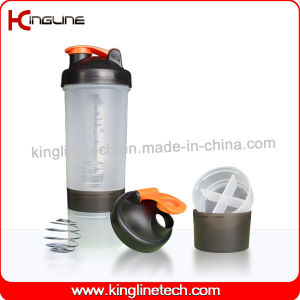 600ml Plastic Protein Shaker Bottle with 2 Compartment (KL-7029) pictures & photos