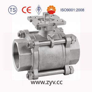 3PC Stainless Steel, with ISO 5211 Mounting Pad Ball Valve pictures & photos