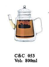Transparent Cooking Pot Tea or Coffee Glass Teapot with Infuster Teapots Wholesale