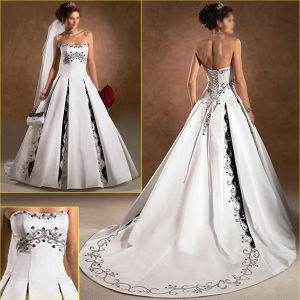 China ancient a line color accent bridal embroidery for White wedding dress with blue accents