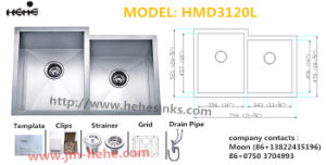 Handmade Sink HMD3120L, Undermount Stainless Steel Sink pictures & photos