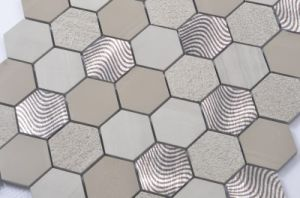 Hexagon Marble Mosaic Mix with Metal pictures & photos