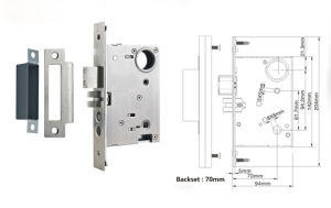 Gold Plated American Standard Brass Mortise Door Lock pictures & photos