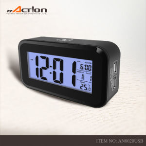 Colorful Cover Digital LED Dimmable Light Alarm Clock with USB Charge pictures & photos