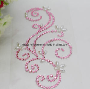 Self Adhesive Pink Flower Rhinestone Stickers Acrylic Stones Sticker (TS-539) pictures & photos