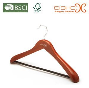 Walnut Color Wooden Clothes Hanger with Pant Bar (MC046) pictures & photos