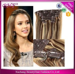 Full Head Double Drawn Trip Weft with Lace Clip in Hair Extension Virgin Brazilian Hair Clip Brazilian Hair pictures & photos