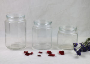 Octangonal Glass Food Storage Canister Jar with Glass Lid