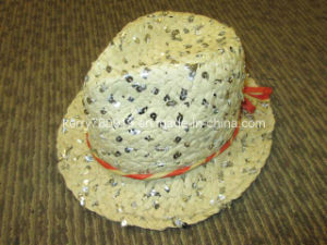 Popular Girl Paper Straw Hat with Sequins (DH-LH9112) pictures & photos