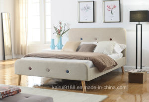 Modern Fabric Beige Home Hotel Livingroom Fashion Bed Bedroom Furniture