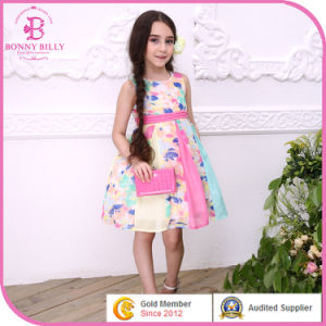 Floral Printed Young Girl Summer Dress in Children Clothing