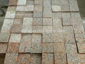 China Bushhammered Red Granite Driveway Cobblestone Granite Patio - Granite patio pavers