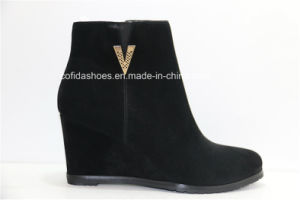 Updated Comfort High Heel Wedges Lady Leather Short Boot pictures & photos
