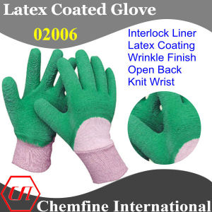 White Interlock Glove with Green Latex Wrinkle Half Coating & Open Back & Knit Wrist pictures & photos