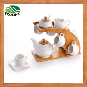 15 Pieces Ceramic Coffee Set with Bamboo Stand pictures & photos