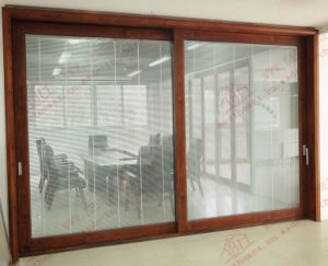 Double Glazed Heavy Aluminum Sliding Door with Built-in Shutters (BHA-DS06) pictures & photos