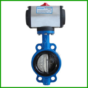 Pneumatic Actuated Wafer Butterfly Valve-Rubber Seat Butterfly Valve pictures & photos