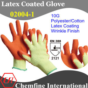 10g Yellow Polyester/Cotton Knitted Glove with Orange Latex Wrinkle Coating/ En388: 2121 pictures & photos