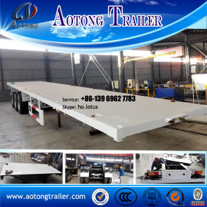 3 Axles Low Flatbed Semi Truck Trailer with Column pictures & photos