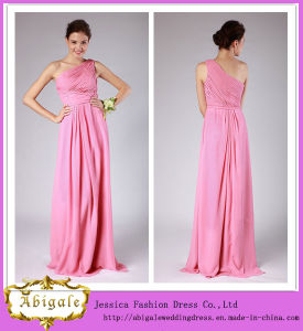 High Quality Simple Peach Color Sheath One Shoulder Pleated Bodice Floor Length Patterns for Bridesmaids Dresses 2014 (MN1606) pictures & photos