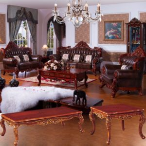 Home Leather Sofa with Wood Table (503) pictures & photos