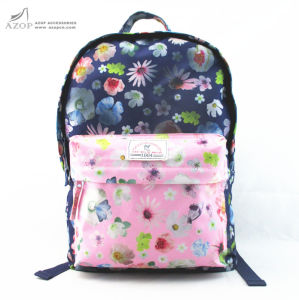 Flower Print Polyester Back to School Backpack pictures & photos
