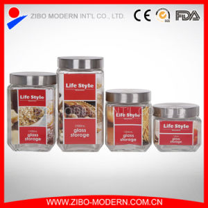 Wholesale Square Airtight Lid Glass Canister with Stainless Steel Lid pictures & photos