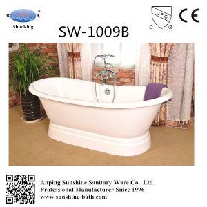 Double People Pedestal Enamel Cast Iron Bathtub Sw-1009b