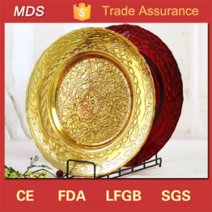 Cheap Events Lead Hot Selling Gold Glass Charger Plates Wholesale pictures & photos
