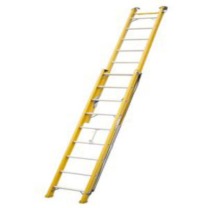 (375LBS) 35kv Yellow 6m Fiberglass Single-Side Grooved Rail Extension Ladder pictures & photos