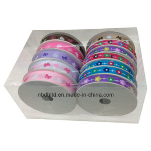 Printed Satin Ribbon with PVC Box Packing for Decoration