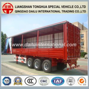3 Axle Van Type Red Side Curtain Semi Trailer